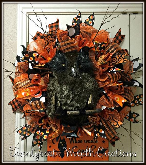 REDUCED!!!  Halloween Owl Wreath - Owl Wreath - Deco Mesh Wreath - Black Owl wreath - Halloween Wreath