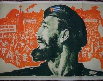 Cuba Revolution Fidel Castro 1963 nice poster