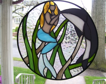 Stained Glass Mermaid ( Looking through the Porthole) Sun catcher
