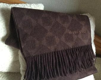 Vintage authentic Marja Kurki dark brown wool scarf made in Finland