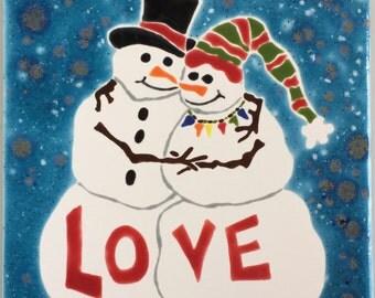 Snowman Love handmade tile