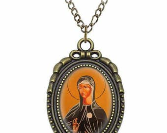 St Juliana Falconieri Catholic Necklace Bronze Medal w Chain Oval Pendant Saint Vintage