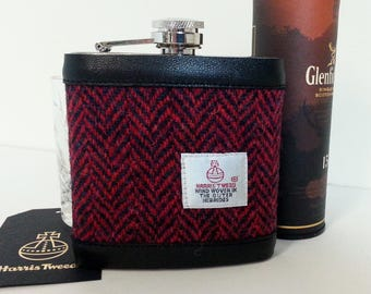 Harris Tweed Hip Flask / Leather / Red and Navy