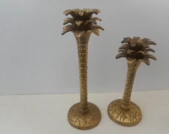 Hollywood Regency Brass Palm Candlesticks