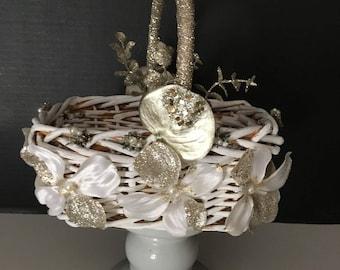 Formal Ivory/Gold Flower Girl Basket