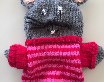 Mouse hand puppet, handmade, hand knitted doll,