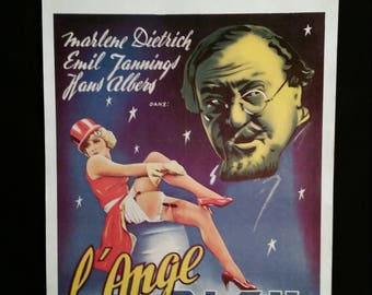 Original 1980R Blue Angel Belgian Movie Poster Marlene Dietrich, Emil Jannings
