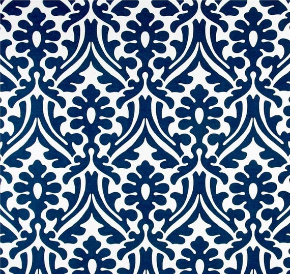 Damask Print Navy Blue Outdoor Fabric by the Yard Designer