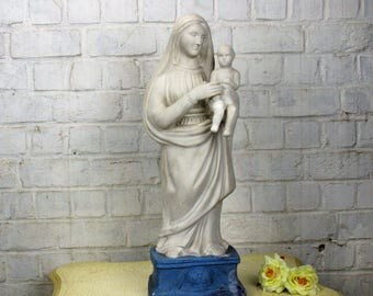 Large Virgin Mary Madonna & Child Plaster Statue Church Chapel 23.62""