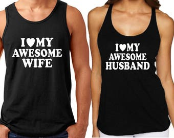 I Love My AWESOME Husband Wife Couple TANK TOP Matching Couple Love Tee Tank Top