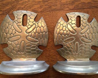 Pair Of Vintage Brass Price Sand Dollar Bookends Book ends