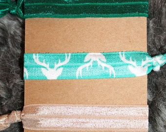 OHDEER! Green Elastic Hair Tie Set, Deer Print, Foe Hair Elastics, Teal Blue