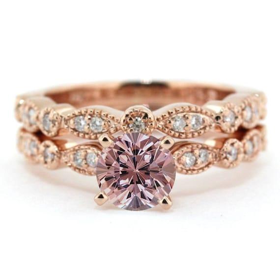 1 25 carat Round Cut Morganite and Diamond Halo Bridal Set in