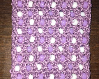 Purple Beaded Cell Phone Pouch - Crocheted with Plastic White and Purple Beads and Cotton