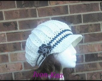 Crochet Woman Sliuchy hat with a zipper flower.   Made to order ready in 1-5 business days to ship, adult hat