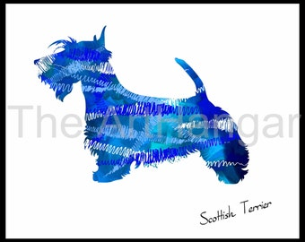 Scottish Terrier Dog Art Print, Giclée, Art, Print, Blue, Gift, Dog Wall Art, Digital Art, 8x10, 11x14, Dog Gift, Pet Decor