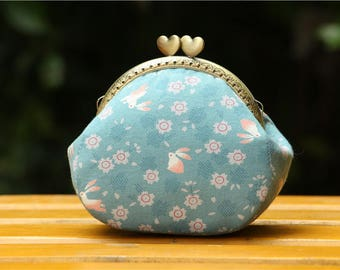 Clutch purse- sakura rabbit Japanese fabric with heart shape clutch frame-metal frame purse
