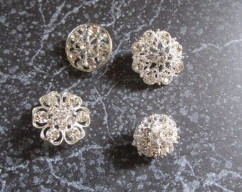 Lot of Four White Rhinestone Pins Brooches Silver Tone