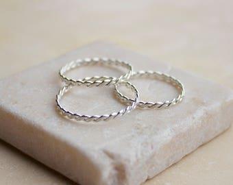 Argentium Twist Stacking Ring, Silver Ring, Twisted Silver Ring, Silver Stacking Rings