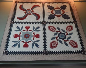 Americana Queen Size Quilt, Hand Quilted. Free Shipping!