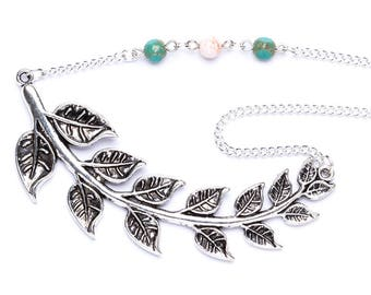 Beaded Leaf Necklace | Asymmetrical Statement Necklace | Nature Lover Necklace | Leaf Necklace