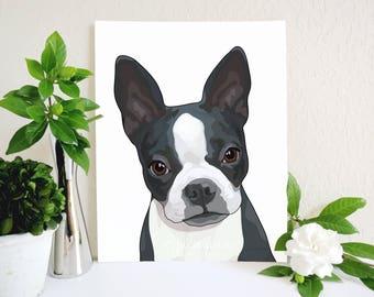 Boston Terrier Art Print, Boston Terrier Painting, Dog Breed Art, Dog Art Print, Dog Illustration, Animal Art, Boston Terrier Illustration
