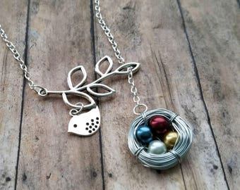 grandma necklace, personalized mothers day birthstone necklace, custom bird nest necklace, gift mom gift, mothers day family tree necklace
