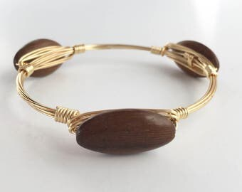 Wood Wire Wrapped Bangle, Wire Bangle, Wire Wrap Bracelet, Wire Wrap Bangle