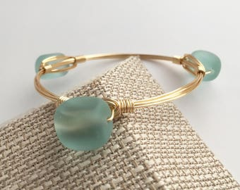Aqua Seaglass Wire Wrap Bangle, Wire Wrapped Bangle, Wire Wrap Bracelet, Wire Wrapped Bracelet, Wire Bangle, Beach Jewelry