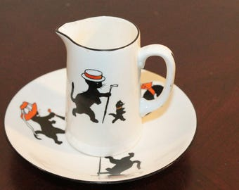 Allertons Old English Black Cats Pitcher and Saucer