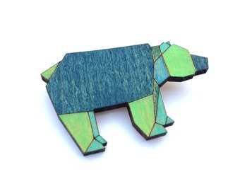Geometric Jewelry - Bear Jewelry - Brooch - Wood Brooch - Bear Brooch - Bear