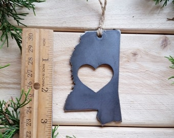 Love Mississippi State Steel Ornament Rustic MS Metal State Heart Host Gift Keepsake Travel Wedding Favor By BE Creations
