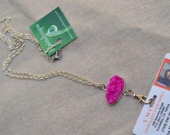 ID Lanyard Holder. Name Badge Holder. ID Badge Gemstone Necklace. Lanyard Silver Chain. Pink Druzy Quartz . Nurse Name Badge Holder.