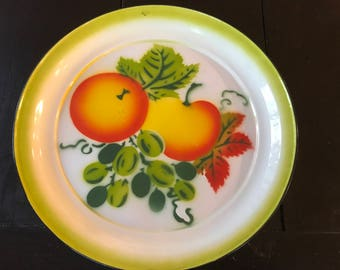 Vintage 1950s Large Round Metal Enamel Fruit Motif Serving Tray Platter  - Apples Peaches Grapes