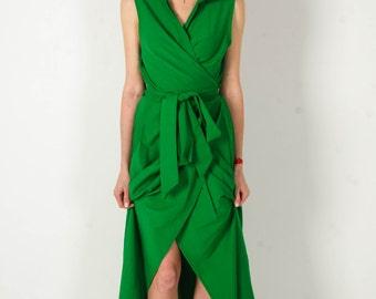 Maxi Casual dress emerald cocktail dress shirt Collar evening cross over dress cotton long summer dress shirt dress wraparound long shirt