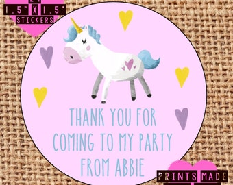 Personalised Unicorn party bag / sweet cone stickers / labels