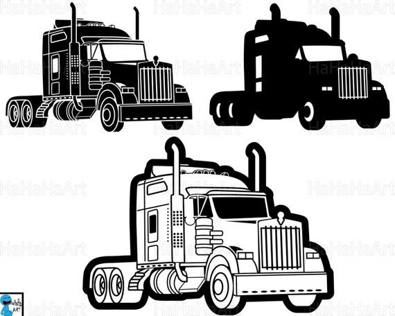truck 18 wheeler monogram   cutting files svg png jpg dxf digital graphic design