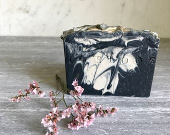 Blackberry Marble Soap.  Black and white marble swirls scented with blackberry