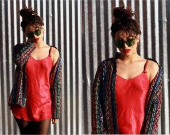 90's Red and Black Spaghetti Strap Slip Dress Nightie