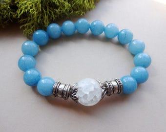 Aquamarine Milky Quartz stretch Bracelet - blue gemstone healing jewelry