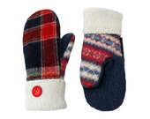 SWEATY MITTS Upcycled Wool Sweater Mittens Women's Plaid Mittens Handmade in Wisconsin Blue Red Green White Fleece Lined Gift Sweatymitts