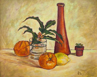 Oil Painting Still Life with Oranges Original Artwork Home Decor Wall Hanging Art Still Life 45×38 cm