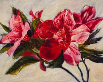 "Oil Painting Azalea Original Artwork Home Decor Wall Decor Wall Hanging Art Floral Still Life 14""x18"""