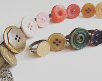 Vintage Button Ring // Antique Button Ring // Statement Ring // Adjustable Ring // Gold Button Ring // Red Button Ring // Yellow Button Ring