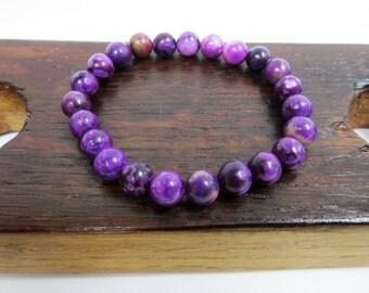 Sugilite Bracelet Purple Bracelet Sugilite Chakra Bracelet Sugilite Meditation Yoga Bracelet Purple Sugilite Addiction Dyslexia Bracelet