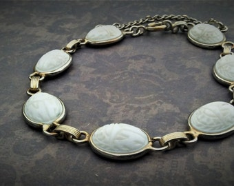 Scarab Bracelet-Egypt Revival-Egypt Jewelry-White Bracelet-Vintage Scarab Jewelry-Chain Bracelet-Gold Tone Bracelet-Ready To Ship Gift