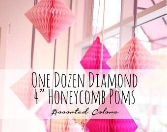 "4"" Tissue Paper Honeycomb Diamond Pom Pom, Tissue Diamond Pom, Triangle Pom, Party Supply, DIY Nursery, Photo Backdrop, Wedding Decorations"