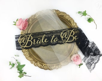 Bride-To-Be Sash - Lace Bachelorette Sash - Bridal Shower Bachelorette Party Accessory - Satin Sash - Bride Gift - Bride Sash - Lace Sash