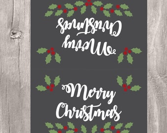 Christmas Treat Bag Topper, Chalkboard Merry Christmas Candy Bag Topper, Instant Download, Printable Christmas Favor Tags, Candy Toppers