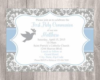First Holy Communion Invitation, Printable Grey and Blue Boy First Holy Communion Invite, Invitacion Primera Comunion Niño